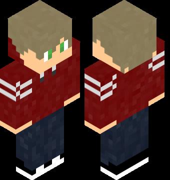 Blonde Boy Red Hoodie | Minecraft Skins Pro
